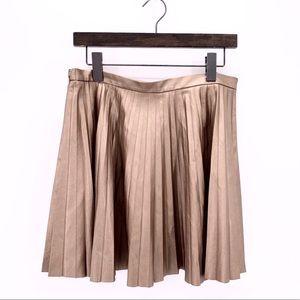 Victoria's Secret Gold Metallic Pleated Mini Skirt
